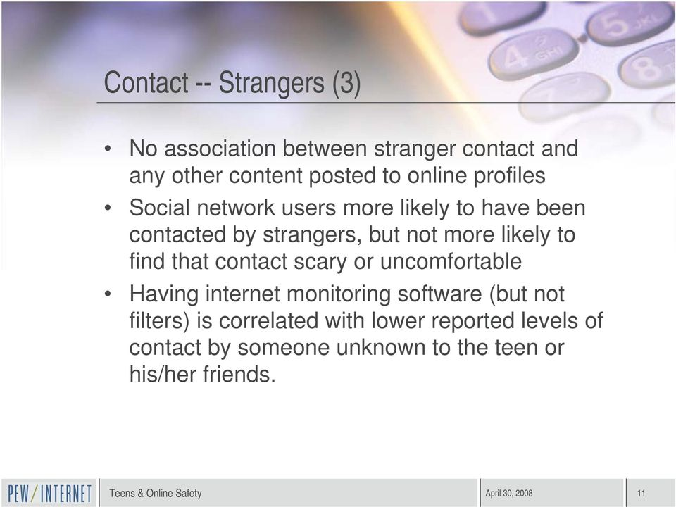 find that contact scary or uncomfortable Having internet monitoring software (but not filters) is