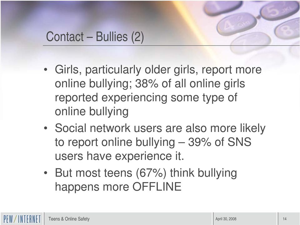 network users are also more likely to report online bullying 39% of SNS users have