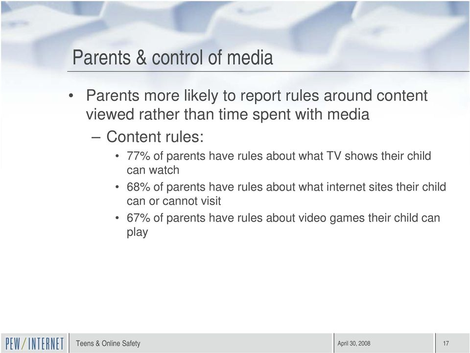their child can watch 68% of parents have rules about what internet sites their child can