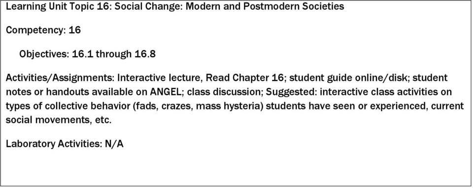 8 Activities/Assignments: Interactive lecture, Read Chapter 16; student guide online/disk; student notes or