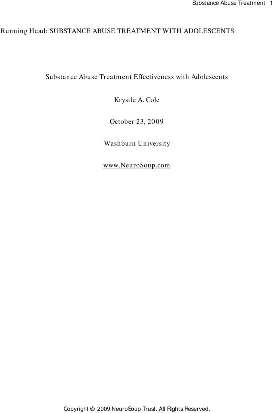Treatment Effectiveness with Adolescents Krystle A.