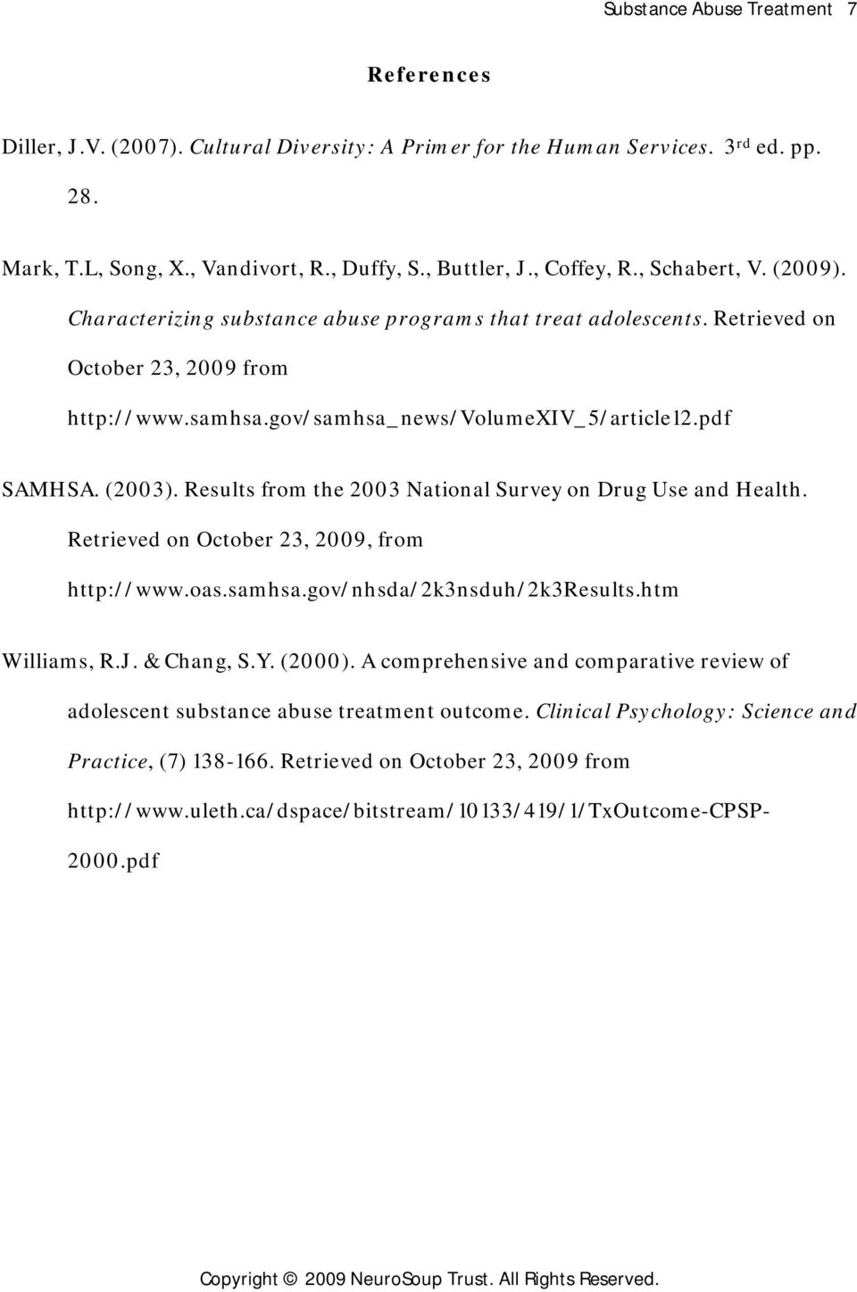 Results from the 2003 National Survey on Drug Use and Health. Retrieved on October 23, 2009, from http://www.oas.samhsa.gov/nhsda/2k3nsduh/2k3results.htm Williams, R.J. & Chang, S.Y. (2000).