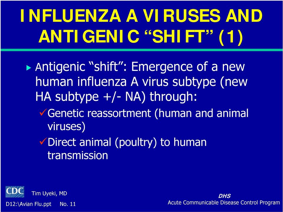+/- NA) through: Genetic reassortment (human and animal viruses)