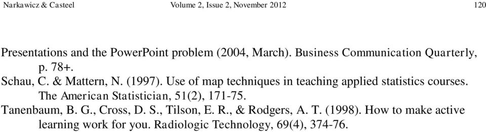 Use of map techniques in teaching applied statistics courses. The American Statistician, 51(2), 171-75.