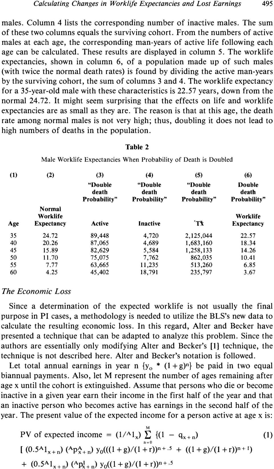The worklife expectancies, shown in column 6, of a population made up of such males (with twice the normal death rates) is found by dividing the active man-years by the surviving cohort, the sum of