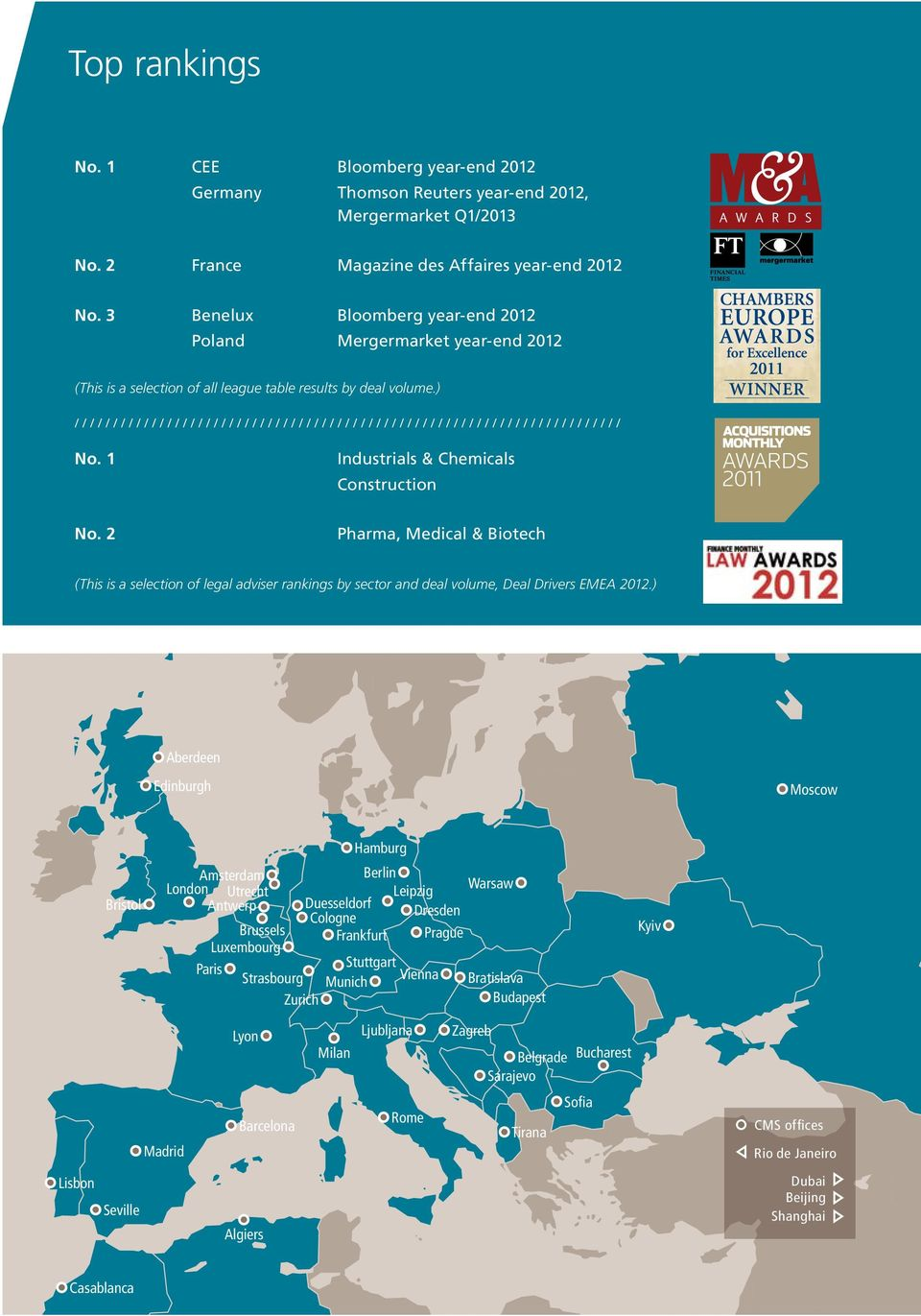 2 Pharma, Medical & Biotech (This is a selection of legal adviser rankings by sector and deal volume, Deal Drivers EMEA 2012.