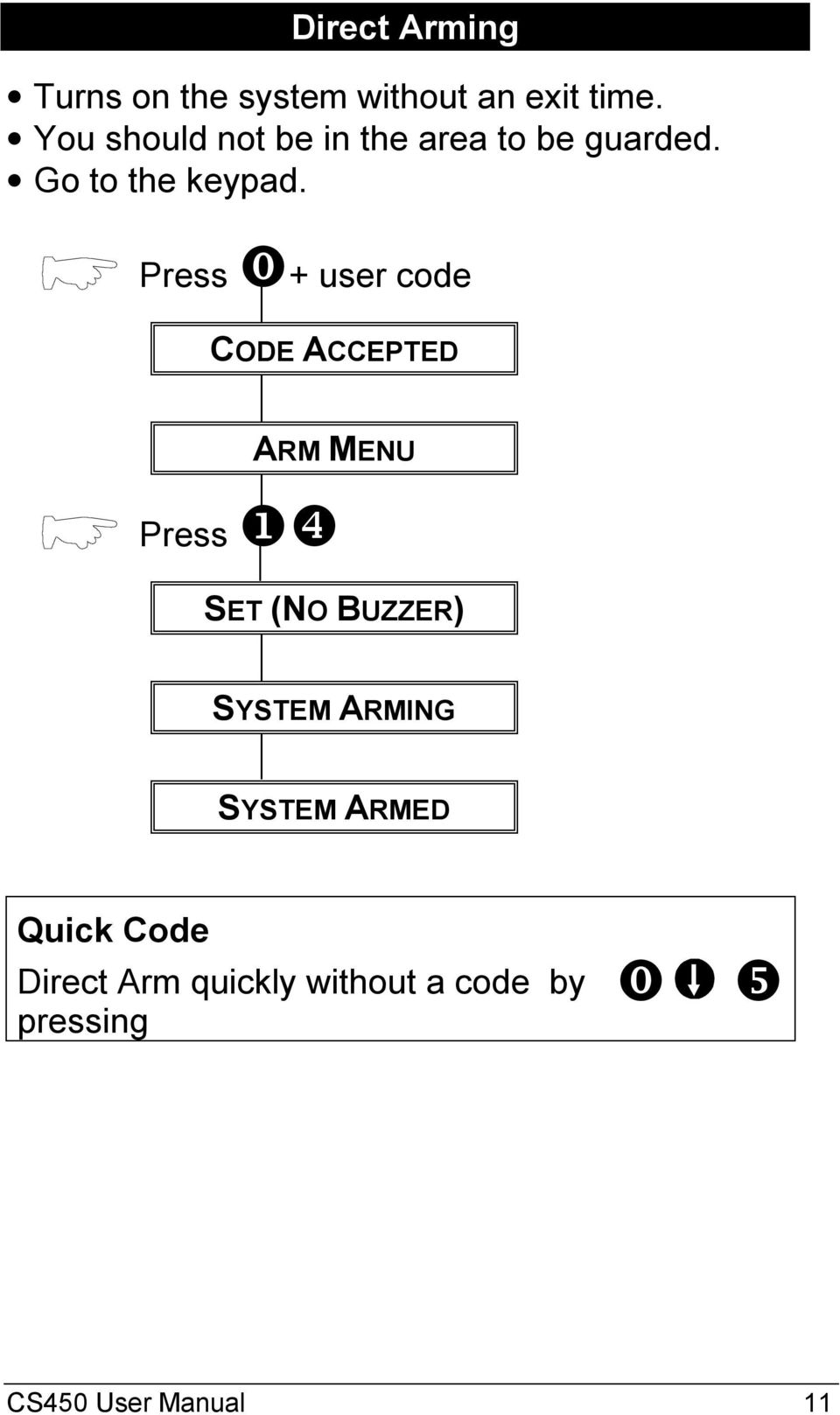 ⓿+ user code CODE ACCEPTED ARM MENU ❶❹ SET (NO BUZZER) SYSTEM ARMING