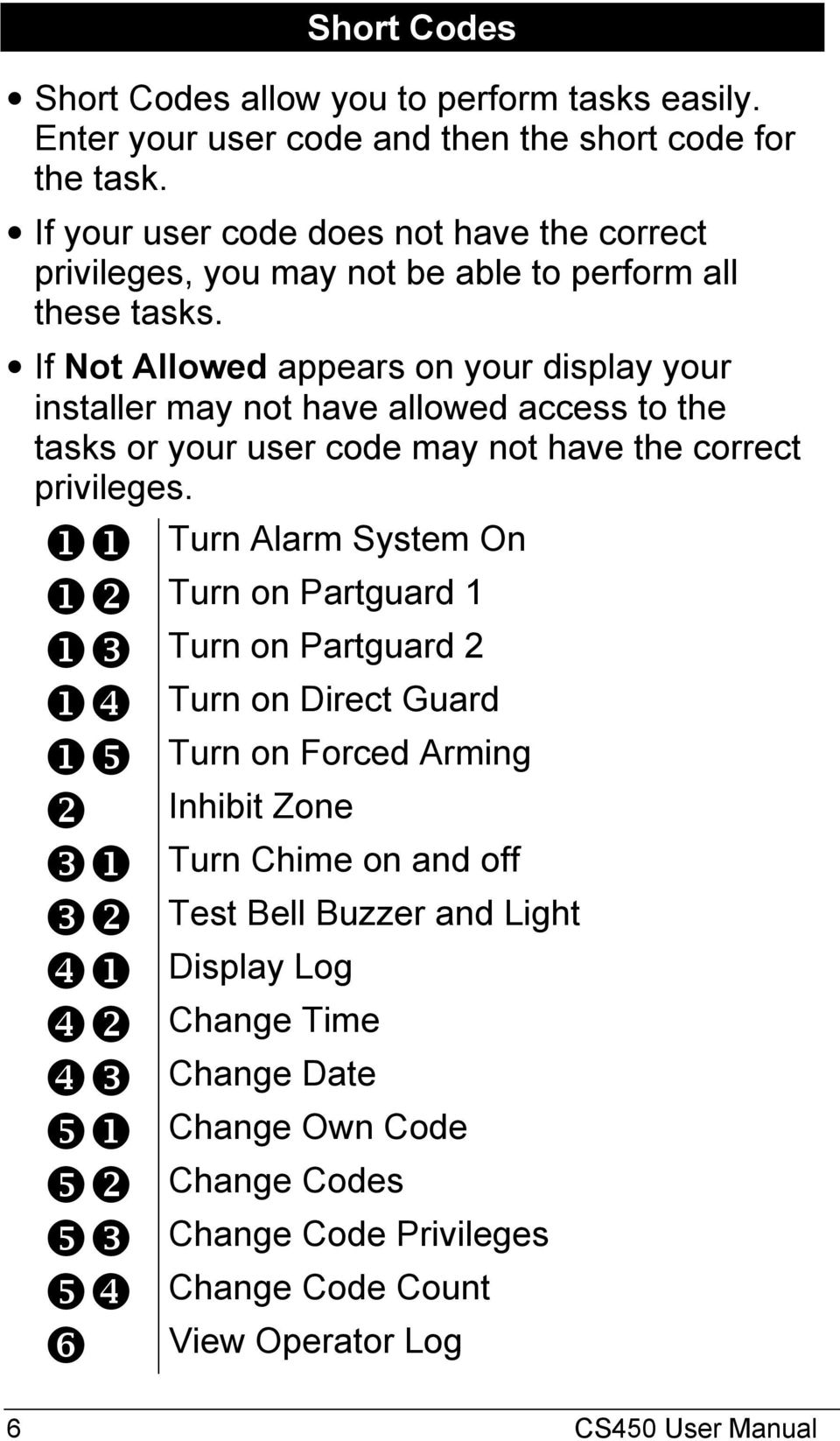 If Not Allowed appears on your display your installer may not have allowed access to the tasks or your user code may not have the correct privileges.