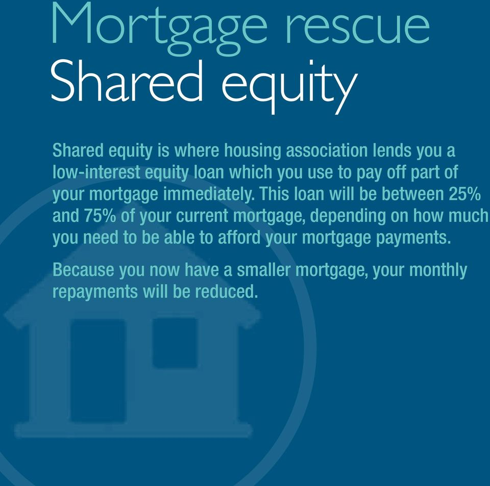 This loan will be between 25% and 75% of your current mortgage, depending on how much you need to