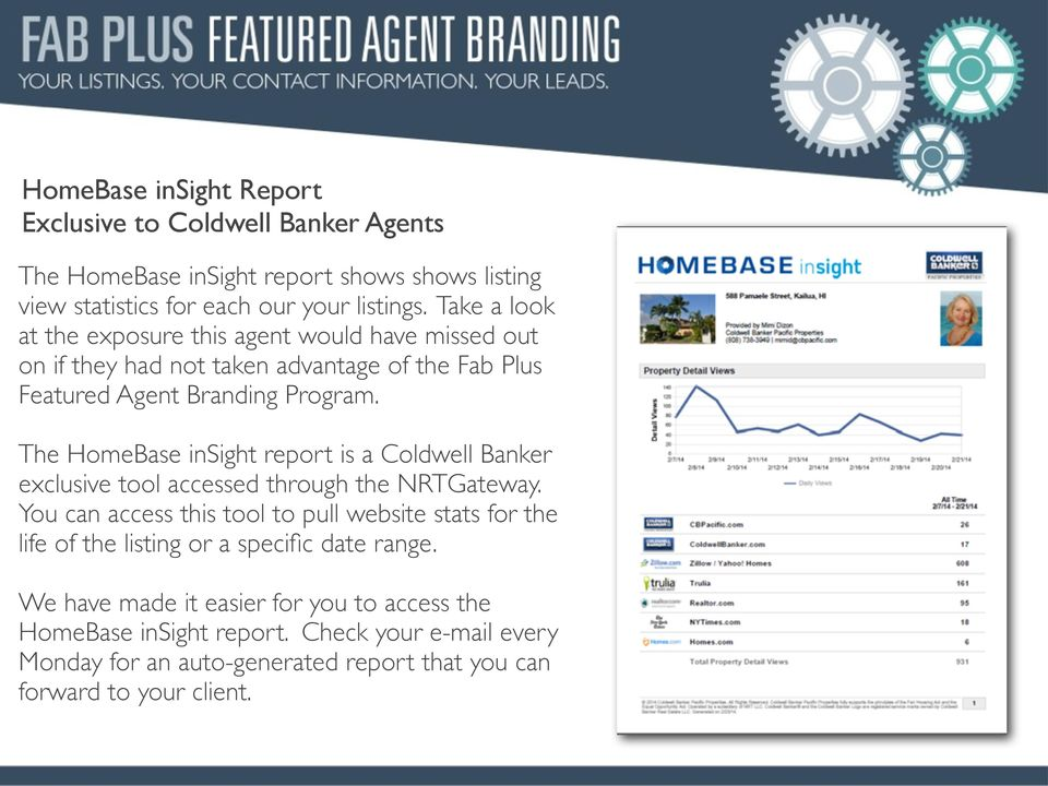 The HomeBase insight report is a Coldwell Banker exclusive tool accessed through the NRTGateway.
