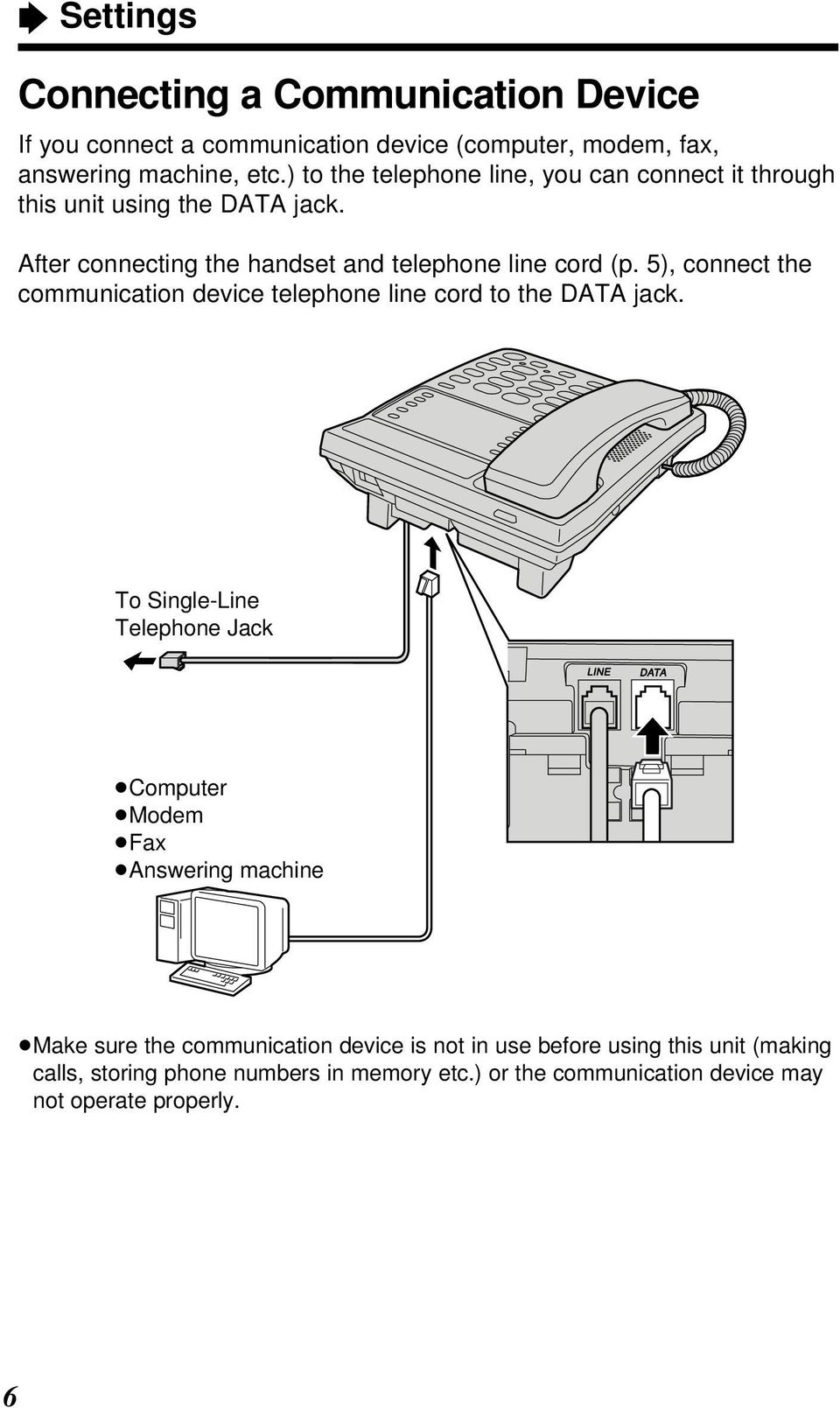 5), connect the communication device telephone line cord to the DATA jack.