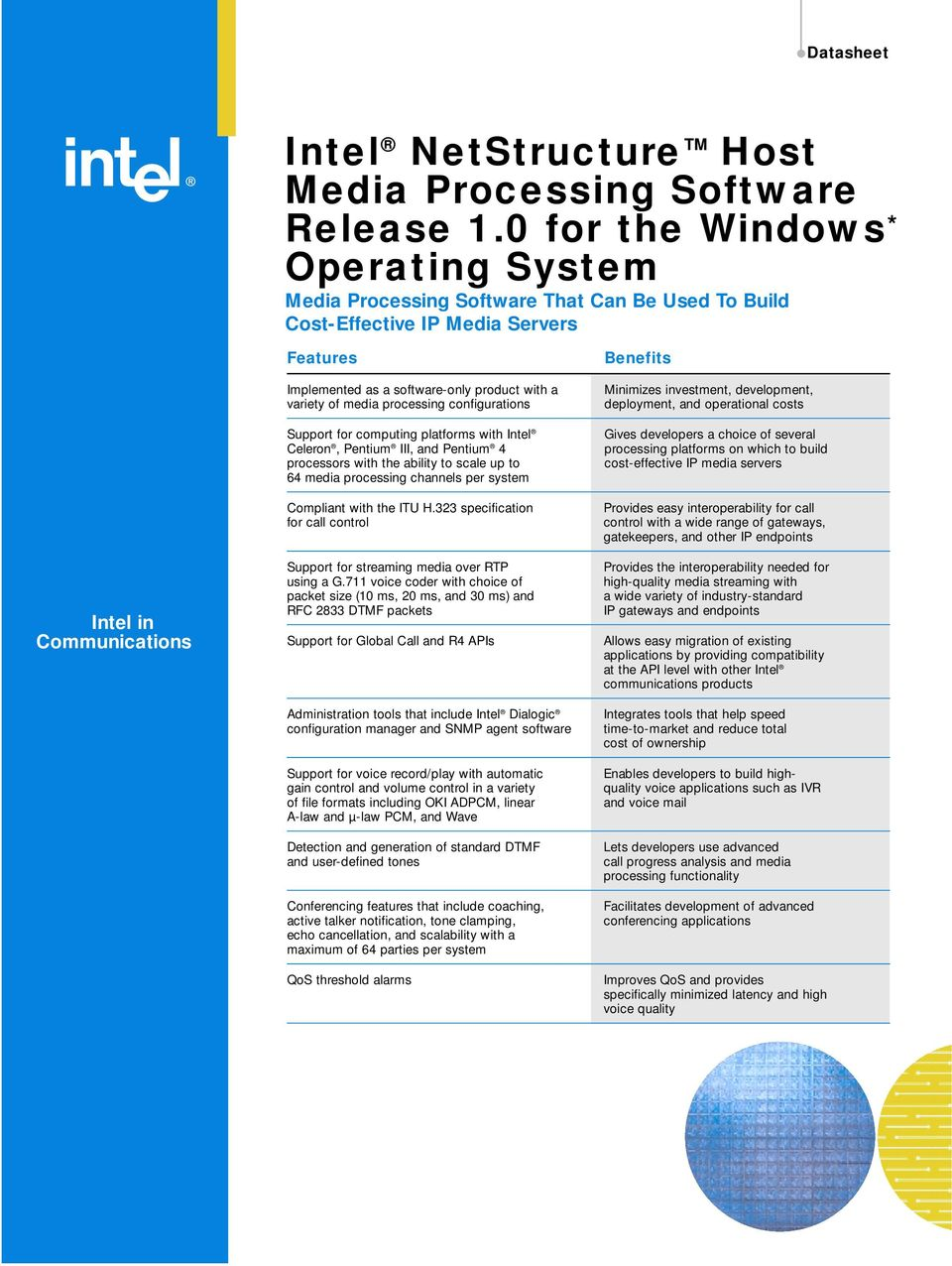 product with a variety of media processing configurations Support for computing platforms with Intel Celeron, Pentium III, and Pentium 4 processors with the ability to scale up to 64 media processing