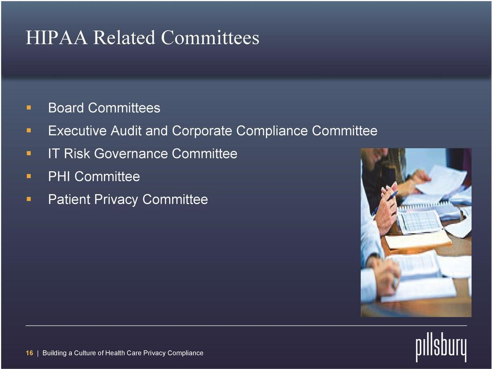 Governance Committee PHI Committee Patient Privacy
