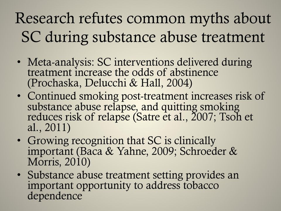 relapse, and quitting smoking reduces risk of relapse (Satre et al., 2007; Tsoh et al.
