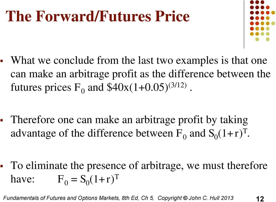 Therefore one can make an arbitrage profit by taking advantage of the difference between F 0 and S 0 (1+r) T.