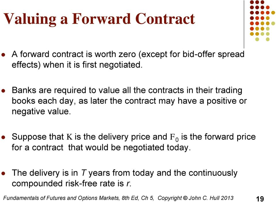 Suppose that K is the delivery price and F 0 is the forward price for a contract that would be negotiated today.