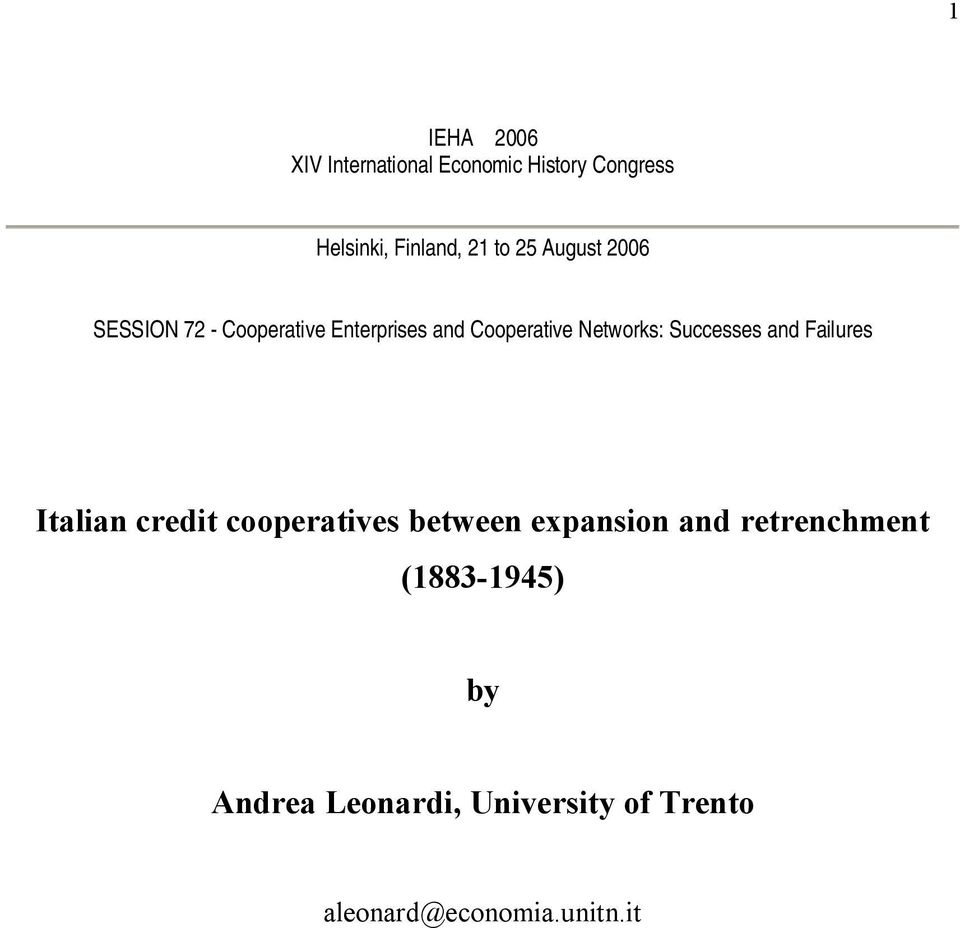 Successes and Failures Italian credit cooperatives between expansion and