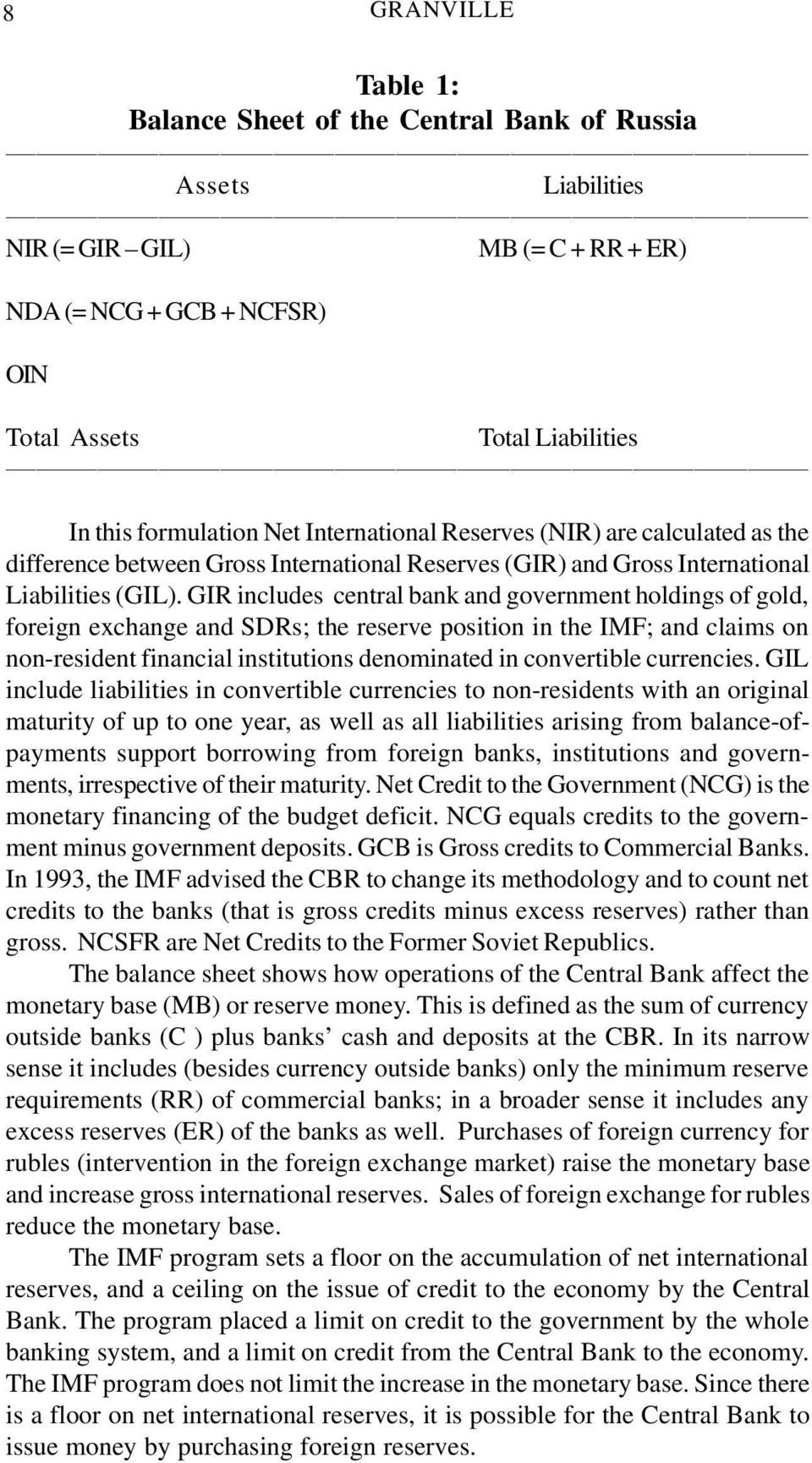 GIR includes central bank and government holdings of gold, foreign exchange and SDRs; the reserve position in the IMF; and claims on non-resident financial institutions denominated in convertible