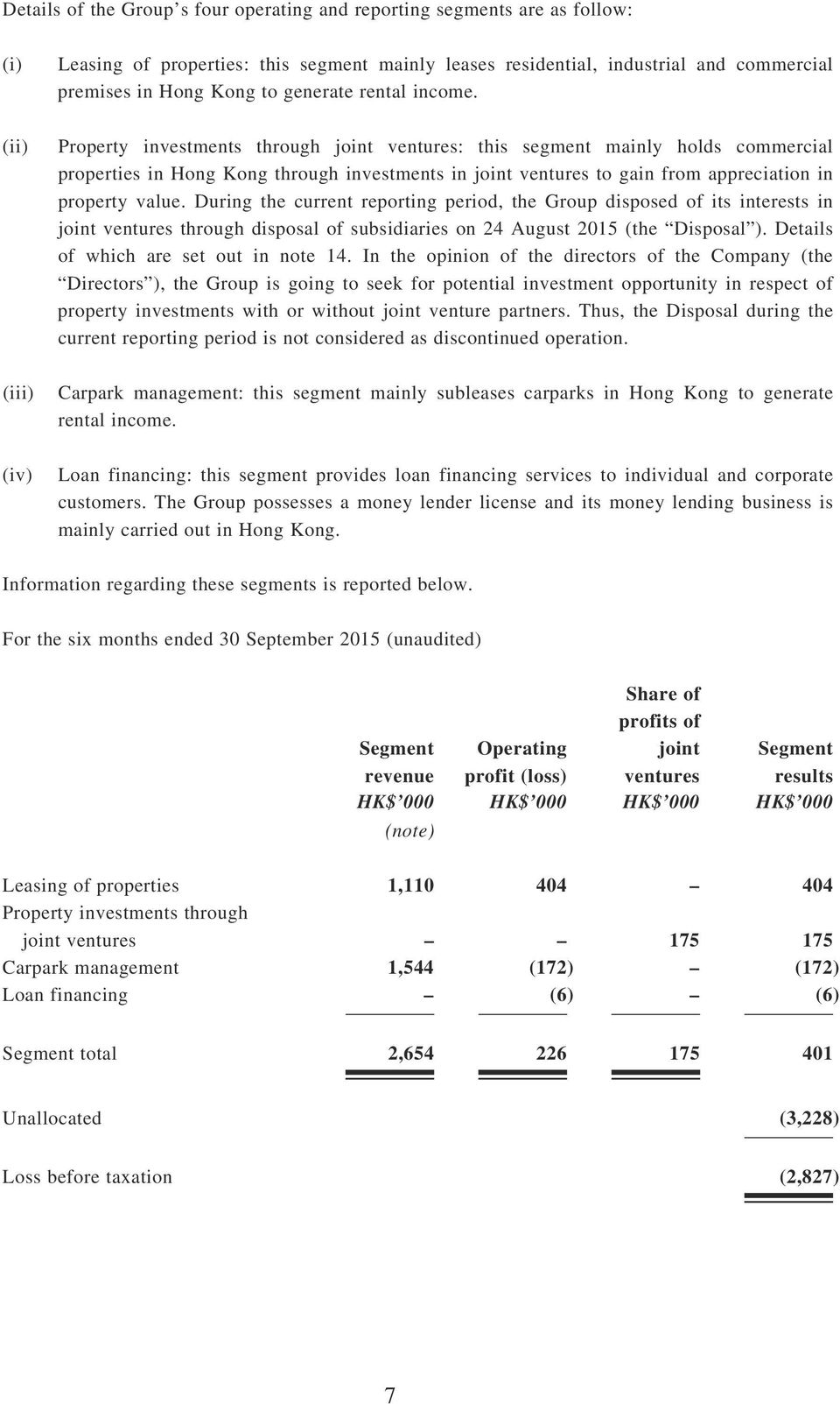 (ii) Property investments through joint ventures: this segment mainly holds commercial properties in Hong Kong through investments in joint ventures to gain from appreciation in property value.