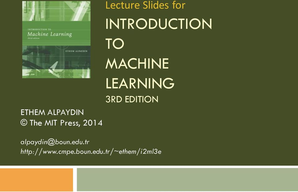 MACHINE LEARNING 3RD EDITION