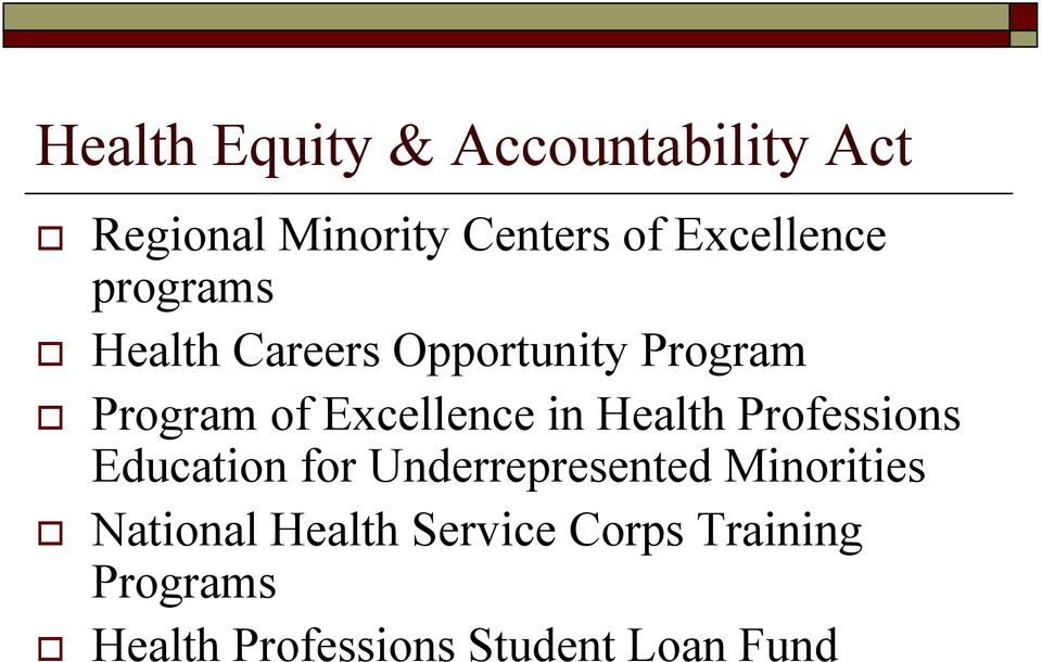 Excellence in Health Professions Education for Underrepresented