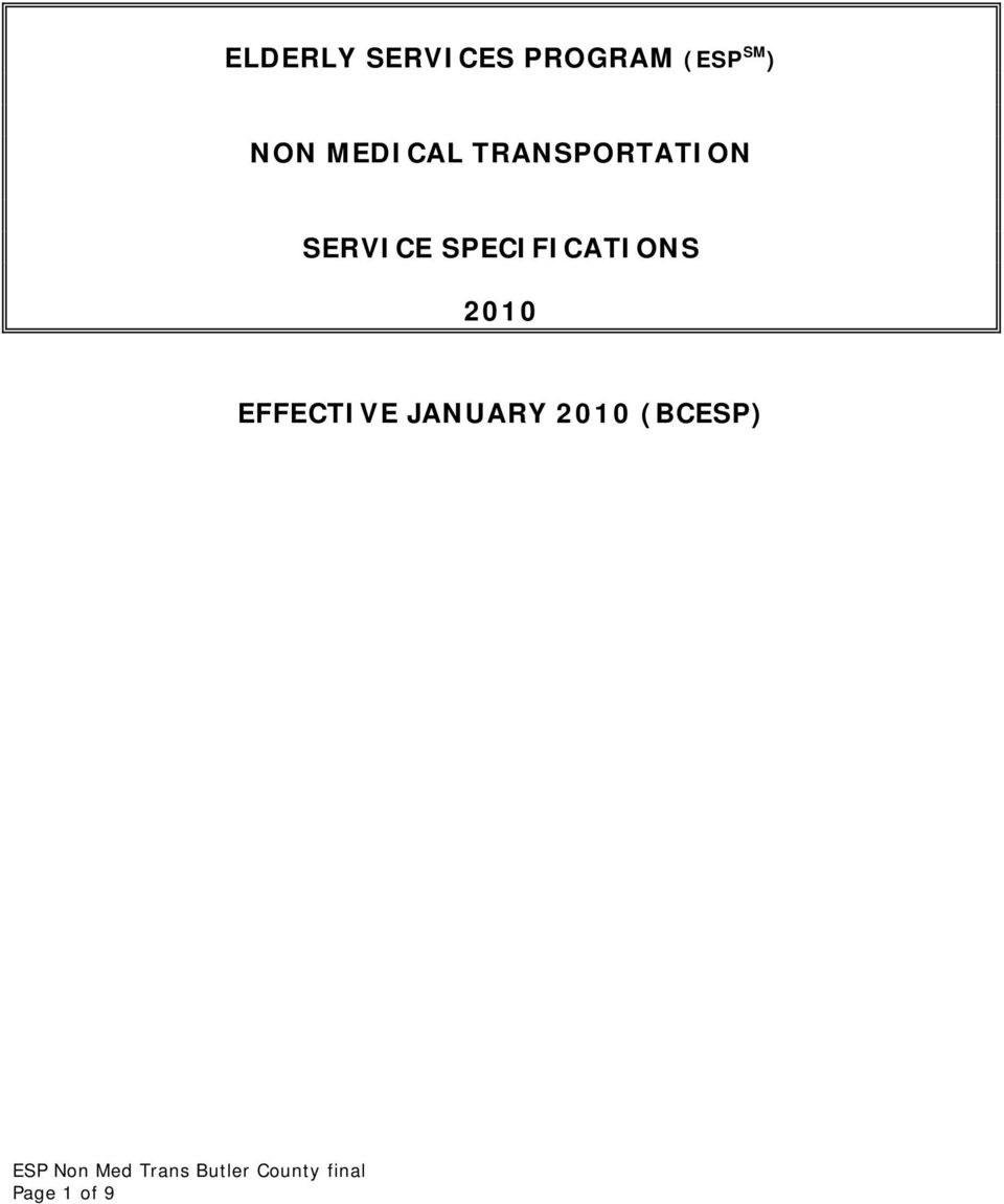 SERVICE SPECIFICATIONS 2010
