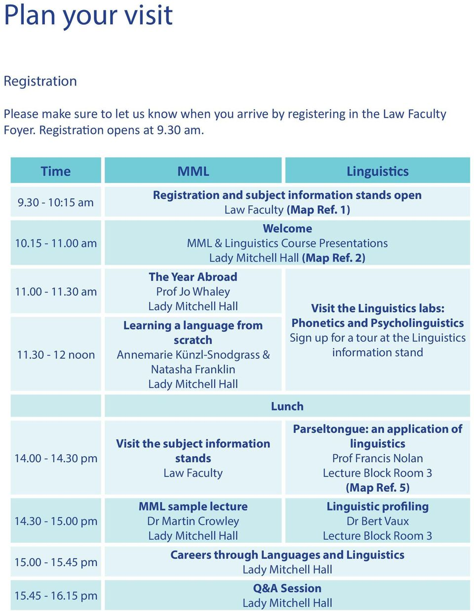 1) Welcome MML & Linguistics Course Presentations (Map Ref.