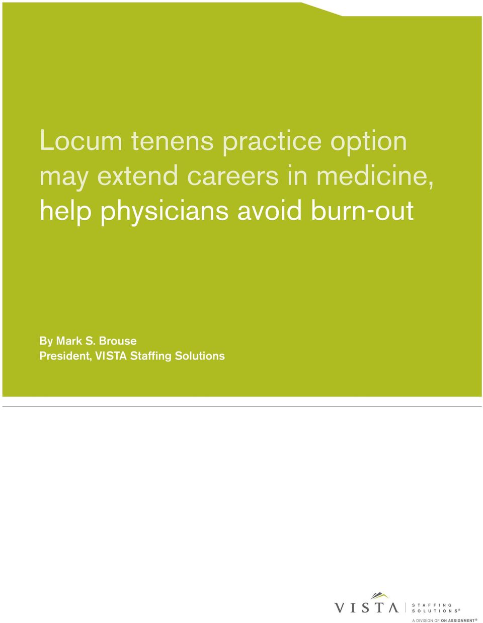 physicians avoid burn-out By Mark S.