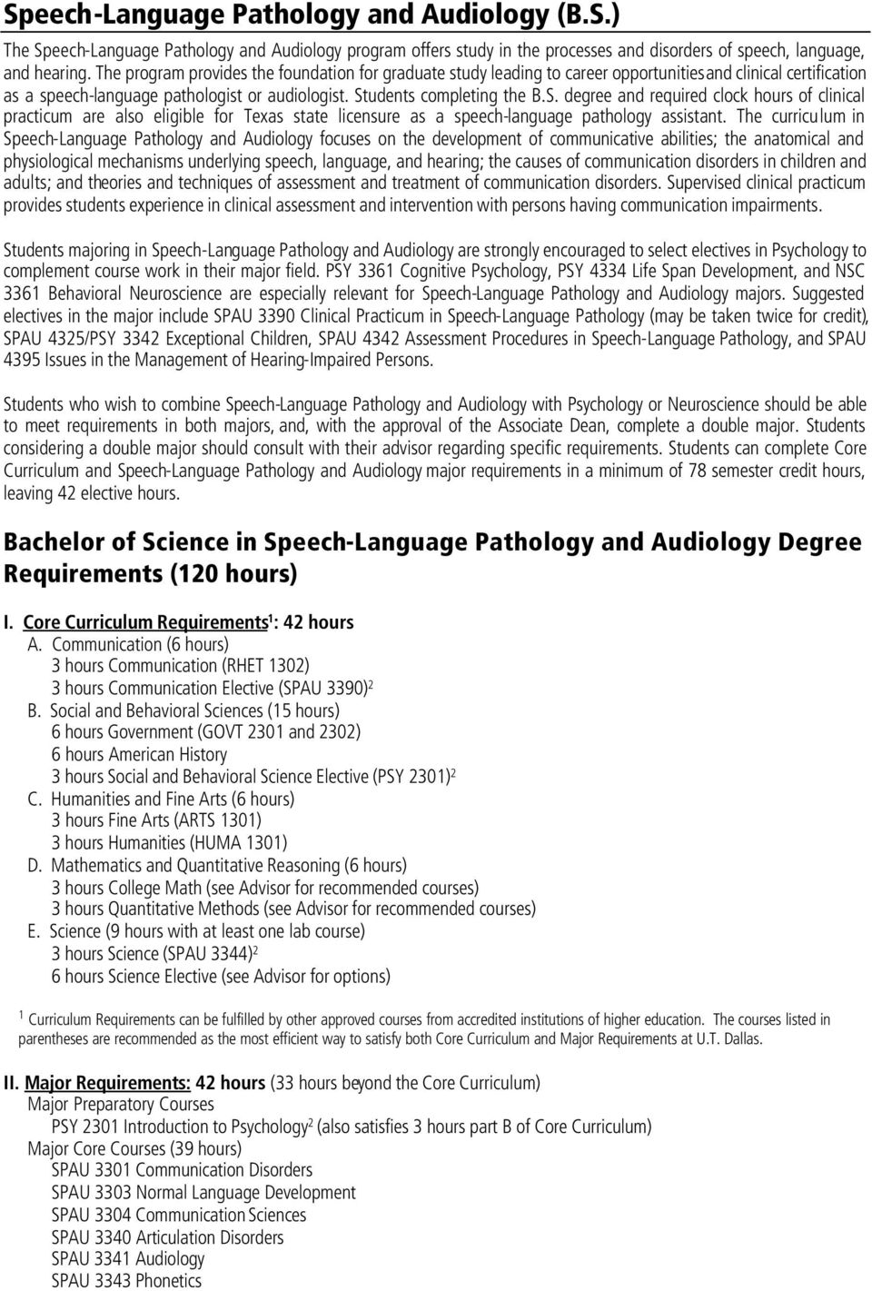 udents completing the B.S. degree and required clock hours of clinical practicum are also eligible for Texas state licensure as a speech-language pathology assistant.