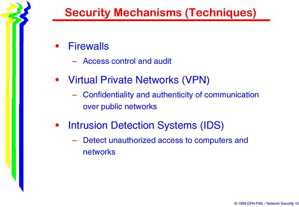 public networks Intrusion Detection Systems (IDS) Detect