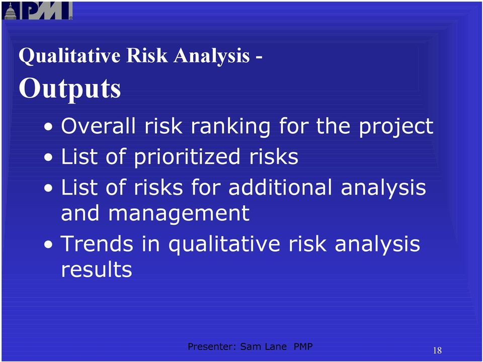 List of risks for additional analysis and