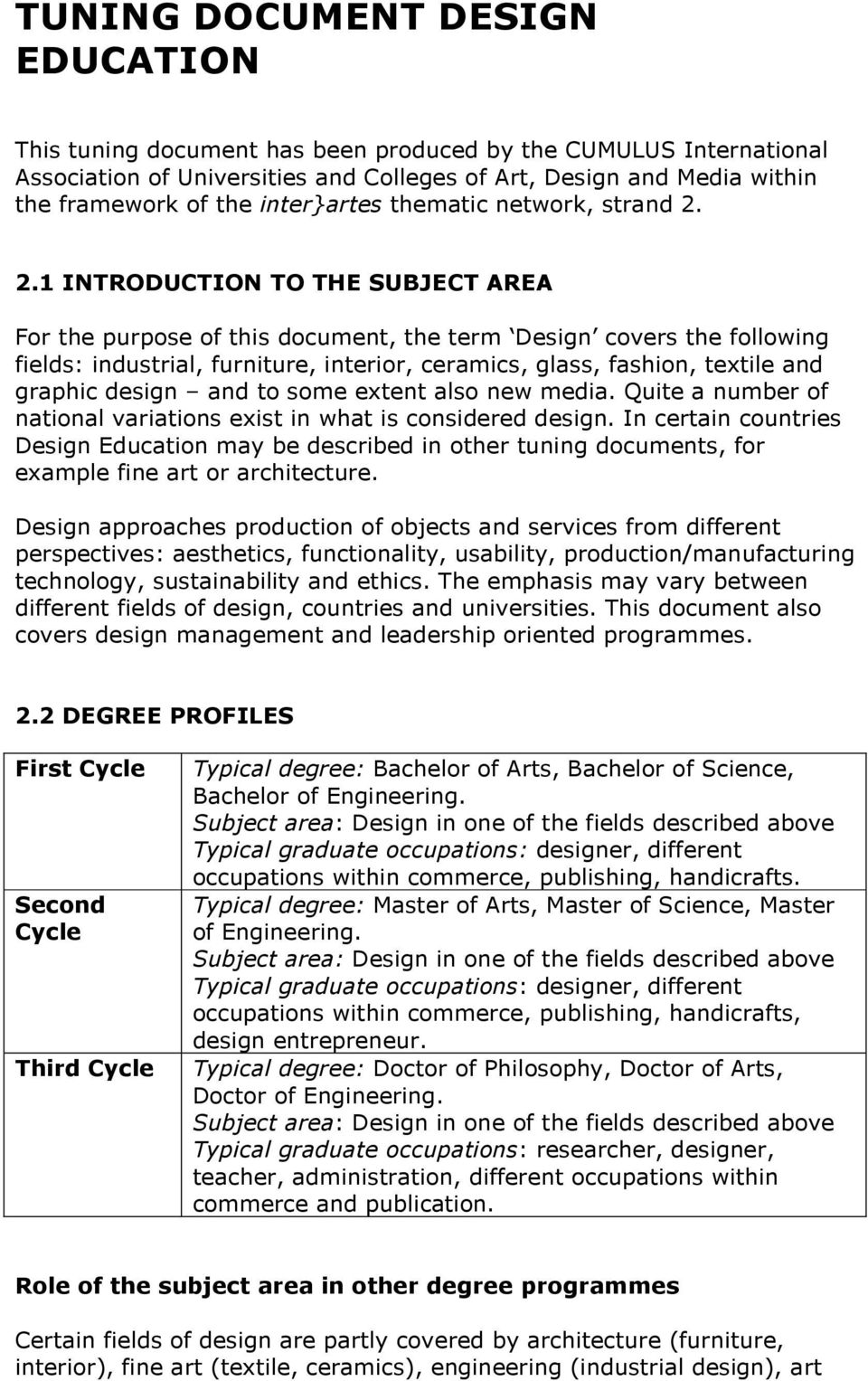 2.1 INTRODUCTION TO THE SUBJECT AREA For the purpose of this document, the term Design covers the following fields: industrial, furniture, interior, ceramics, glass, fashion, textile and graphic