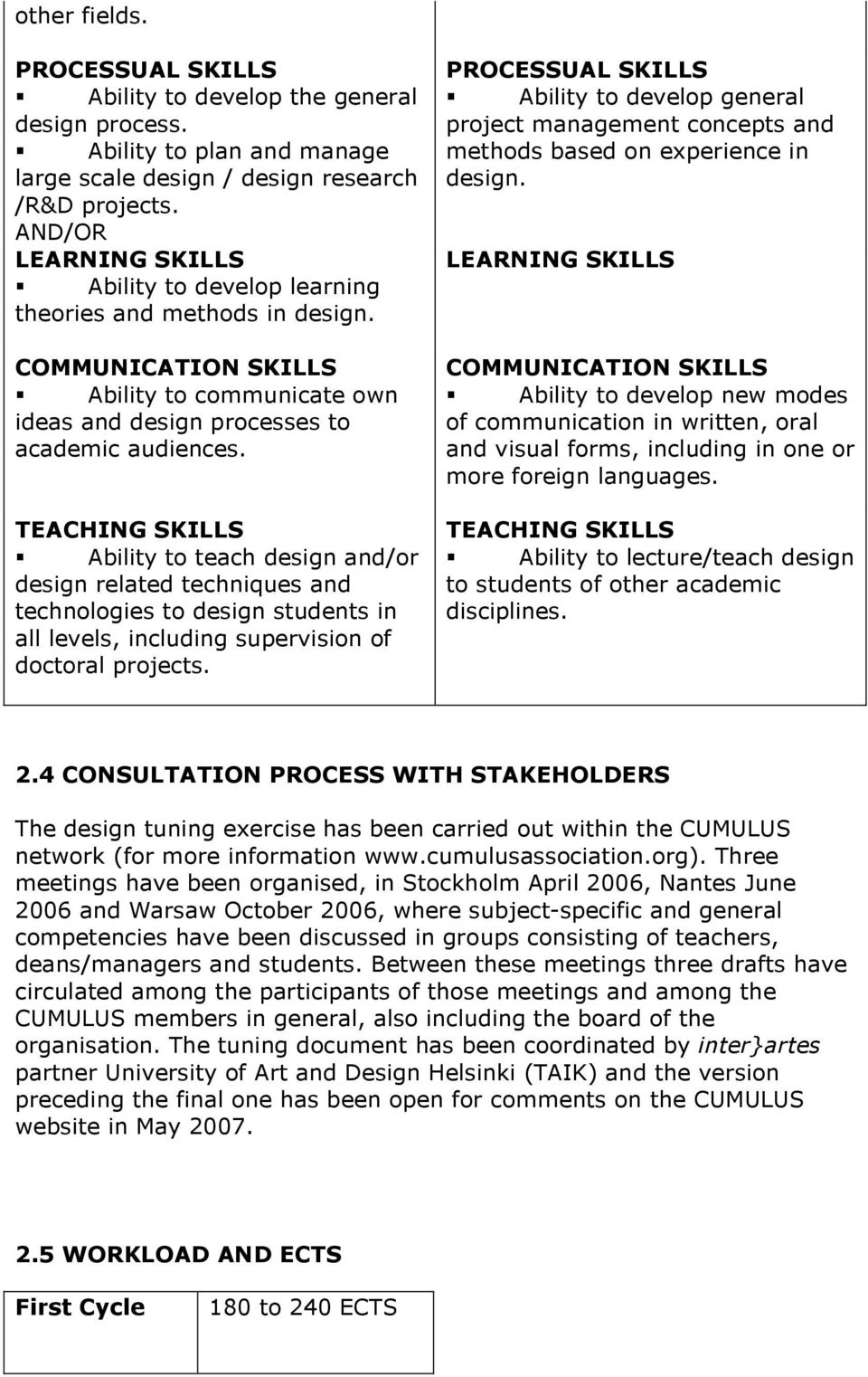 TEACHING SKILLS Ability to teach design and/or design related techniques and technologies to design students in all levels, including supervision of doctoral projects.