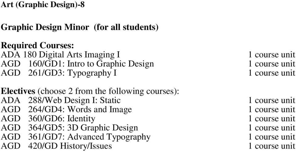 from the following courses): ADA 288/Web Design I: Static AGD 264/GD4: Words and Image AGD
