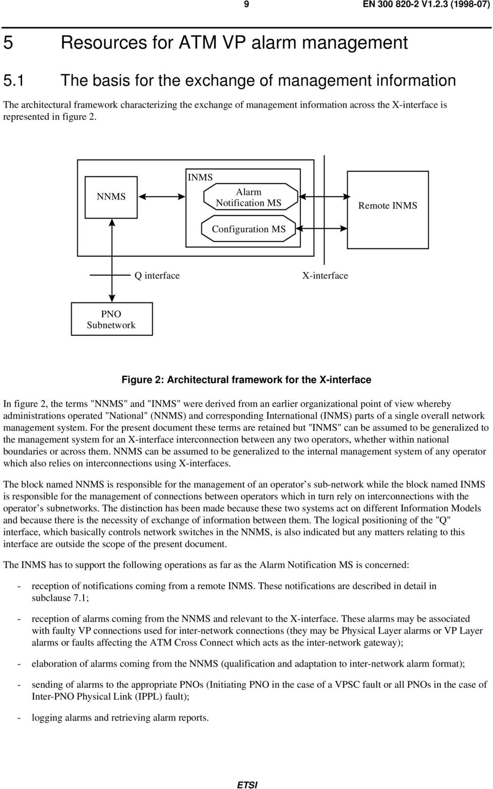 "NNMS INMS Alarm Notification MS Configuration MS Remote INMS Q interface X-interface Figure 2: Architectural framework for the X-interface In figure 2, the terms ""NNMS"" and ""INMS"" were derived from"