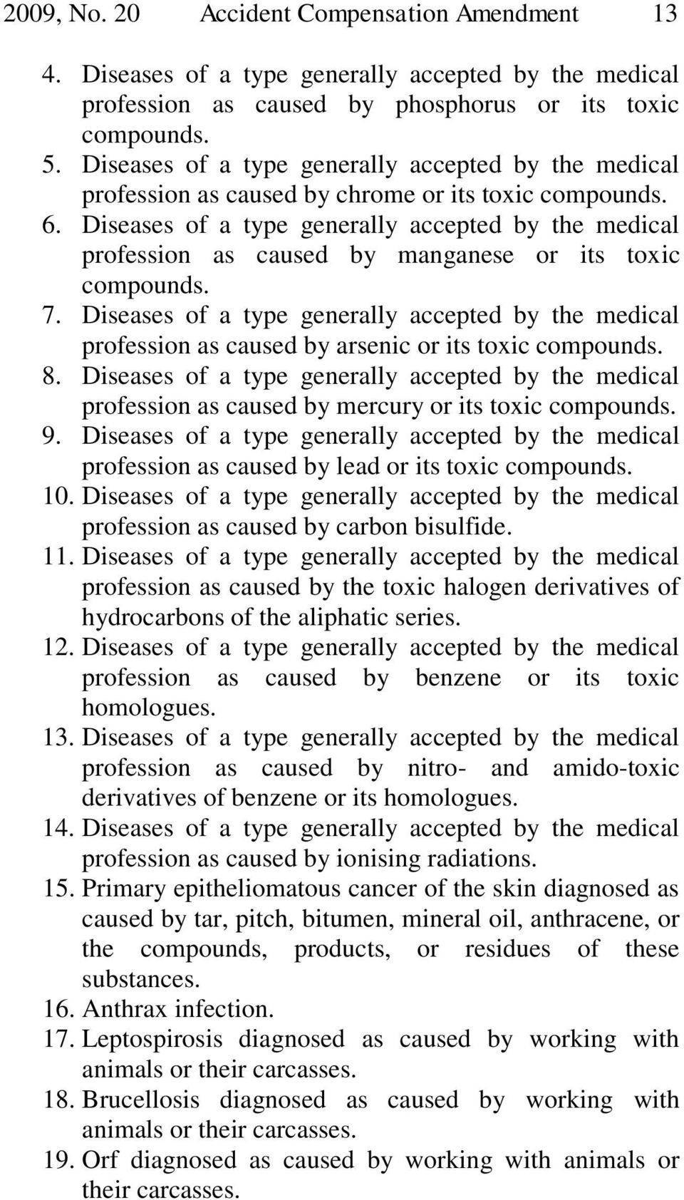 Diseases of a type generally accepted by the medical profession as caused by manganese or its toxic compounds. 7.