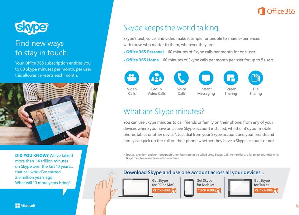 Office 365 Home 60 minutes of Skype calls per month per user for up to 5 users. Video Calls Group Video Calls Voice Calls Instant Messaging Screen Sharing File Sharing What are Skype minutes?