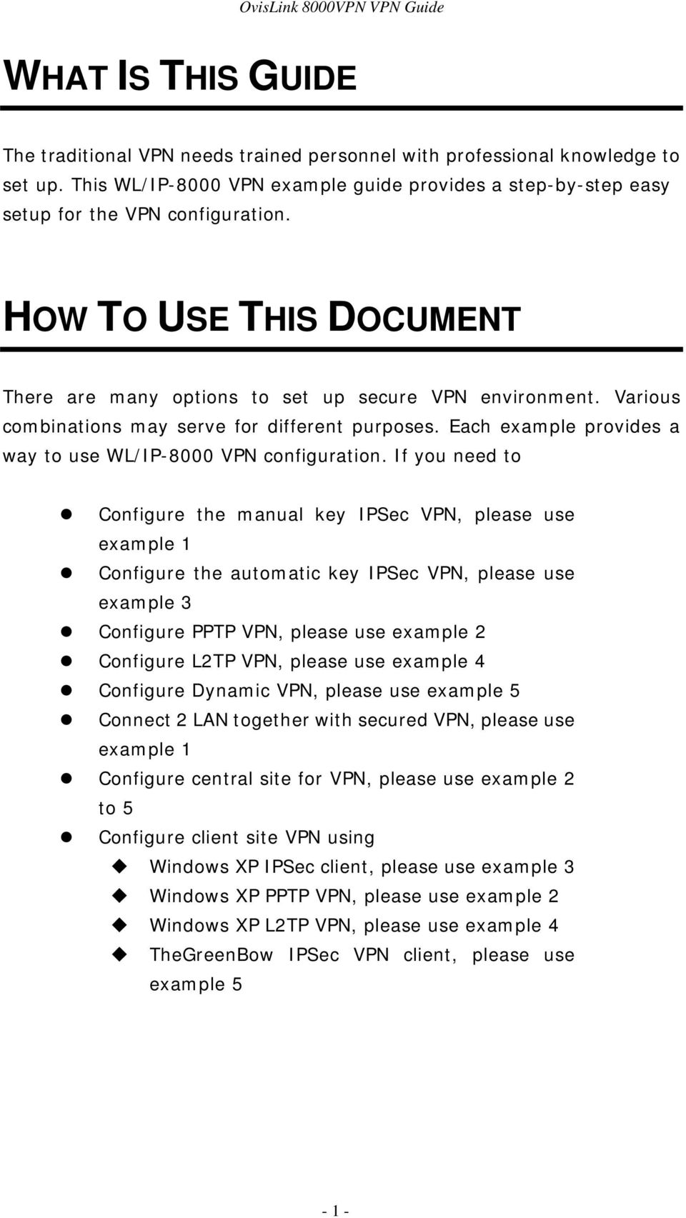 Each example provides a way to use WL/IP-8000 VPN configuration.