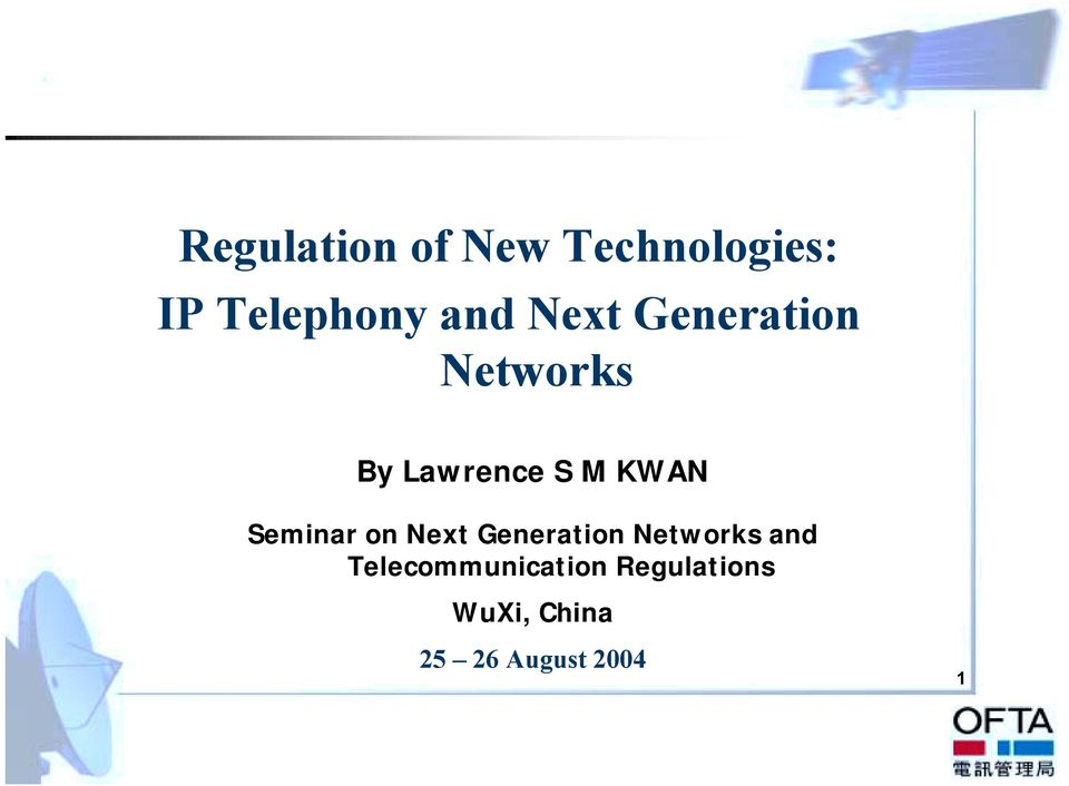 Seminar on Next Generation Networks and