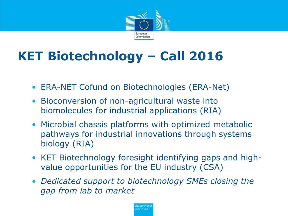 for industrial innovations through systems biology (RIA) KET Biotechnology foresight identifying gaps and
