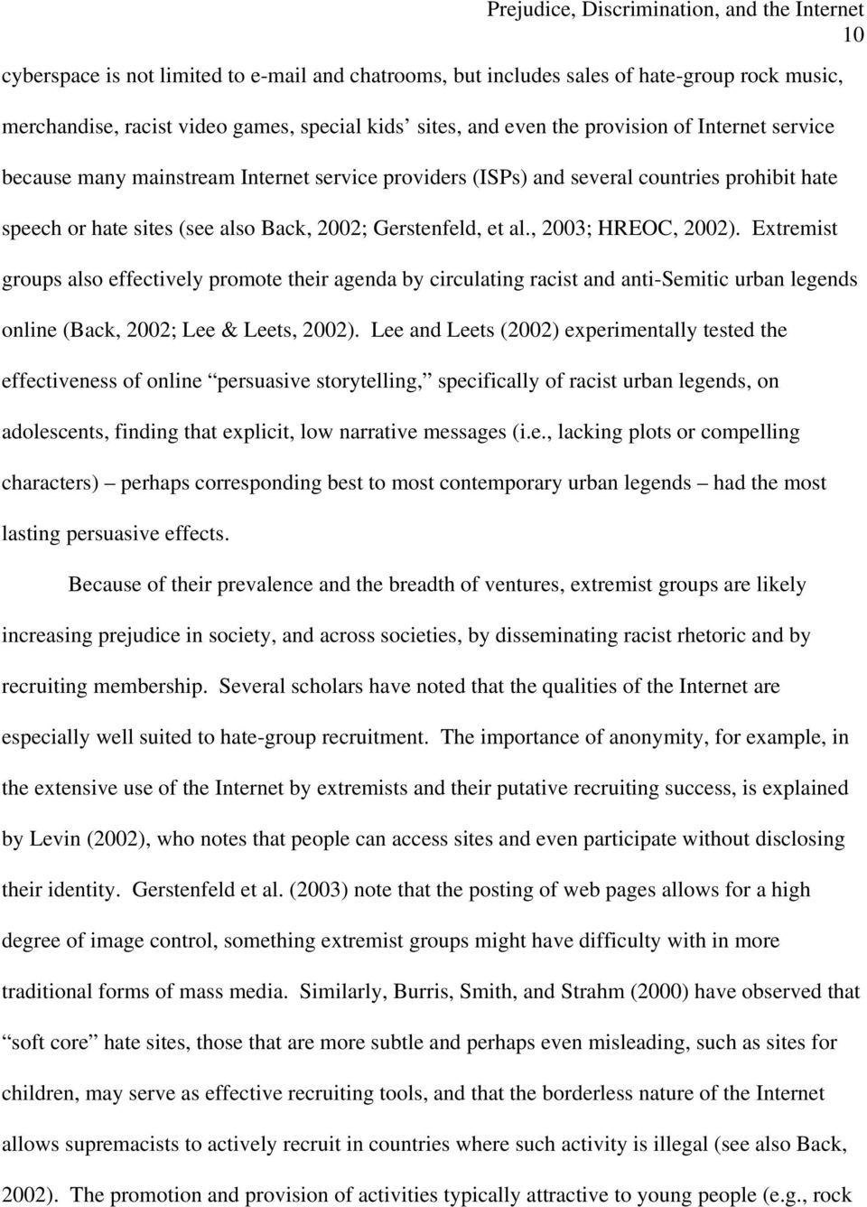 Extremist groups also effectively promote their agenda by circulating racist and anti-semitic urban legends online (Back, 2002; Lee & Leets, 2002).