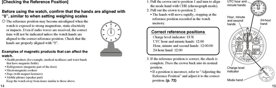 Even if radio waves are received, the correct time will not be indicated unless the watch hands are aligned to the correct reference position. Check that the hands are properly aligned with 0.