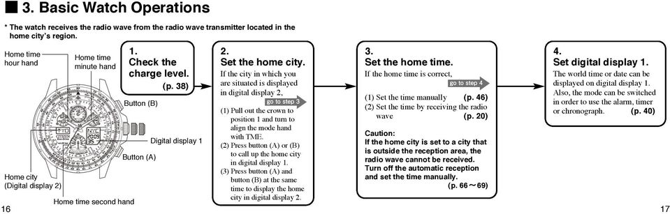 46) (2) Set the time by receiving the radio wave (p. 20) 4. Set digital display 1. The world time or date can be displayed on digital display 1.