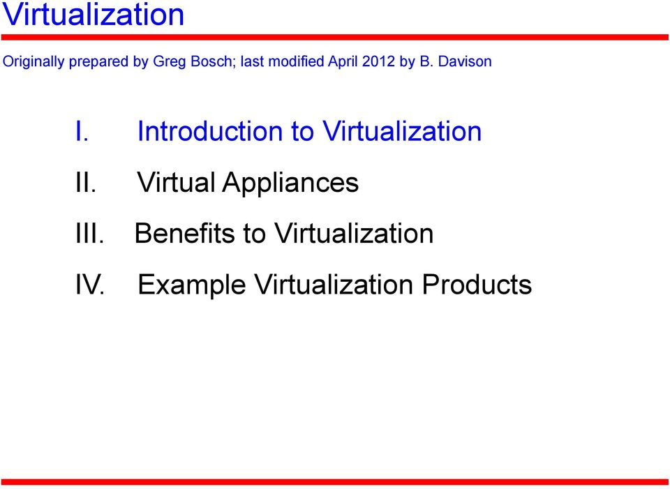 Introduction to Virtualization II.