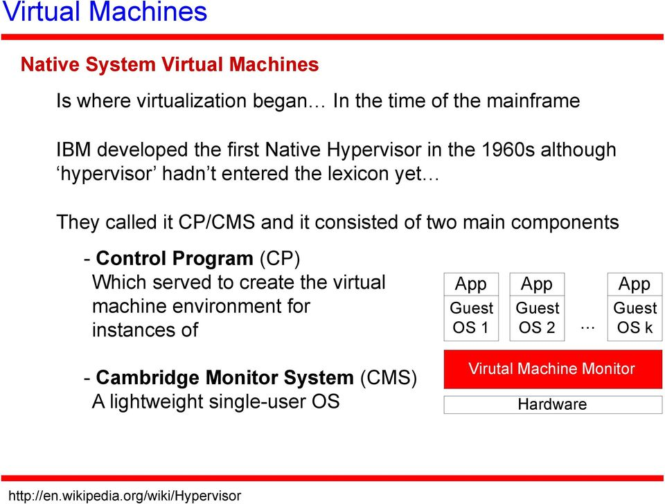 - Control Program (CP) Which served to create the virtual machine environment for instances of - Cambridge Monitor System (CMS) A