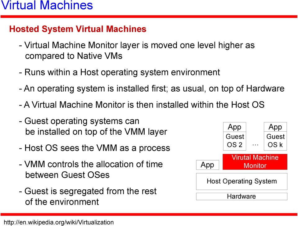 operating systems can be installed on top of the VMM layer - Host OS sees the VMM as a process - VMM controls the allocation of time between Guest OSes - Guest is