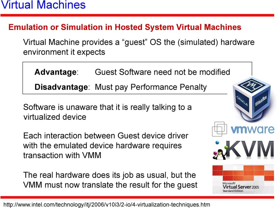 virtualized device Each interaction between Guest device driver with the emulated device hardware requires transaction with VMM The real hardware does