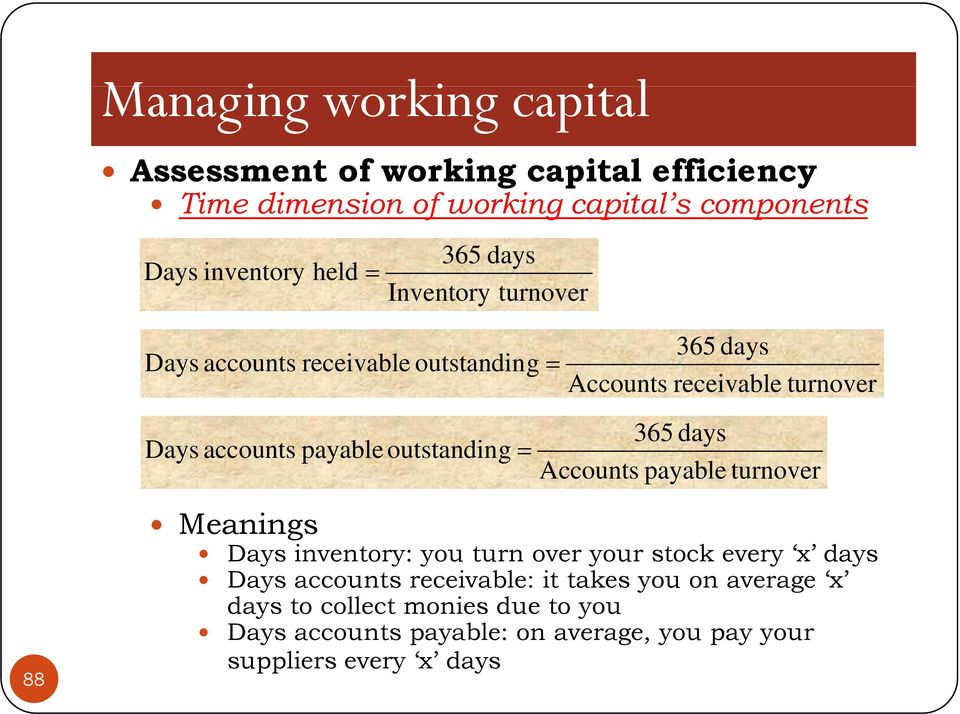outstanding = 365 days Accounts payable turnover 88 Meanings Days inventory: you turn over your stock every x days Days