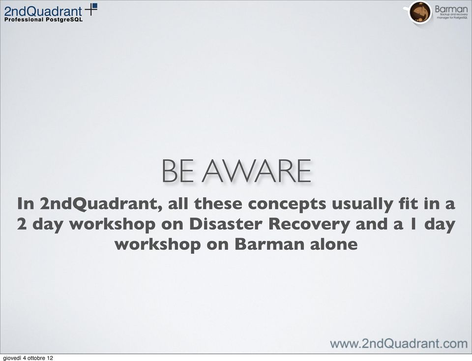 day workshop on Disaster Recovery