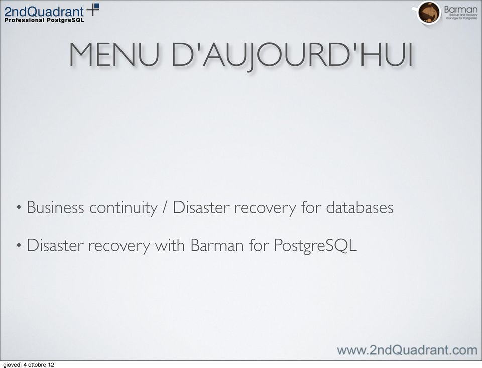 recovery for databases